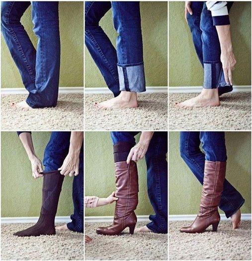 как заправить широкие джинсы в сапоги