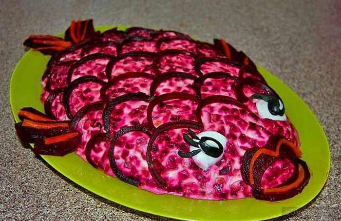 Скумбрия под шубой - необычный салат | Пошаговый рецепт с фото