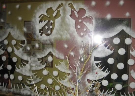 роспись окон на новый год