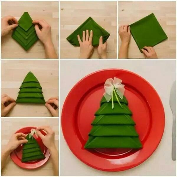 как красиво сложить салфетку в форме елочки