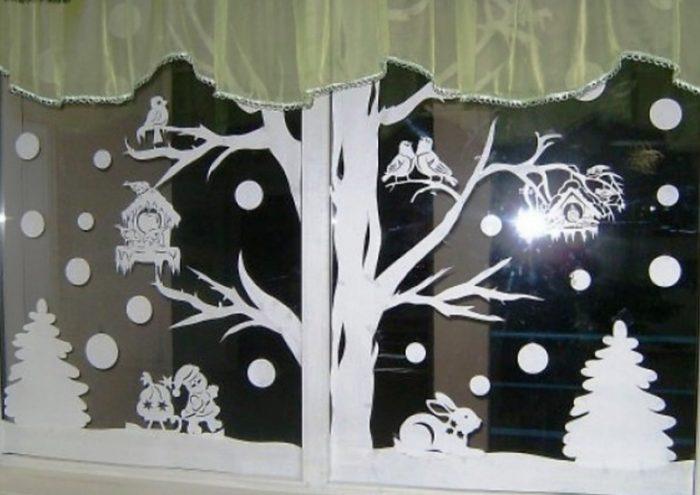 украшения на окна на новый год